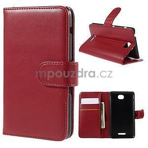 Peňaženkové PU kožené puzdro pre Sony Experia E4 - červené - 1