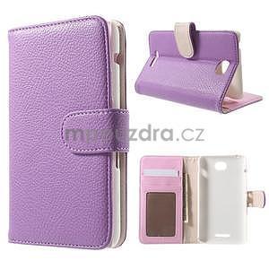 Koženkové puzdro pre Sony Xperia E4 - fialové - 1