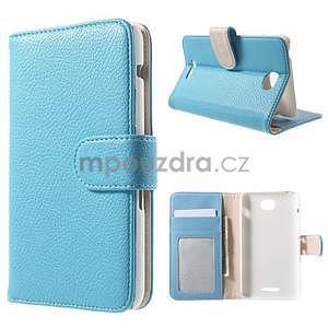 Koženkové pouzdro pro Sony Xperia E4 - světle modré - 1