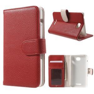 Koženkové puzdro pre Sony Xperia E4 - červené - 1