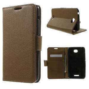 PU kožené Peňaženkové puzdro pre Sony Xperia E4 - hnedé - 1