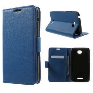 PU kožené peněženkové pouzdro na Sony Xperia E4 - modré - 1
