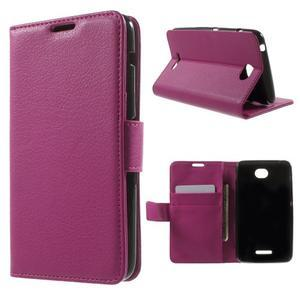 PU kožené Peňaženkové puzdro pre Sony Xperia E4 - rose - 1