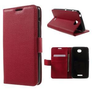 PU kožené Peňaženkové puzdro pre Sony Xperia E4 - červené - 1