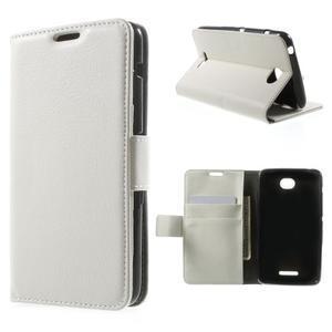 PU kožené Peňaženkové puzdro pre Sony Xperia E4 - biele - 1