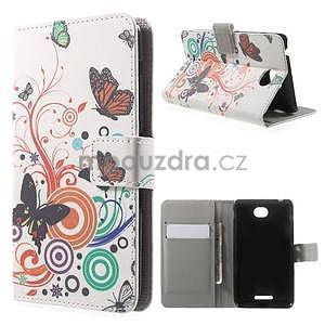 Peňaženkové puzdro pre Sony Xperia E4 - farební motýľe - 1