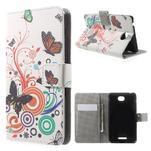 Peněženkové pouzdro na Sony Xperia E4 - barevní motýlci - 1/7