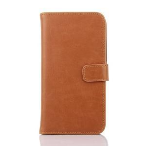 PU kožené PU Peňaženkové puzdro pre Sony Xperia E4 - hnedé - 1
