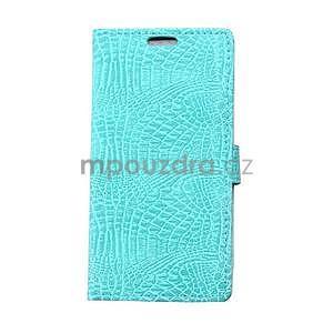 Puzdro s krokodílím vzoromna Sony Xperia E4 - tyrkysové - 1