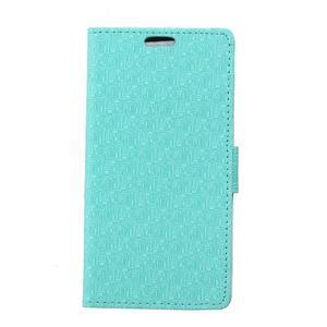Vzorované peňaženkové puzdro pre Sony Xperia E4 - tyrkysové - 1