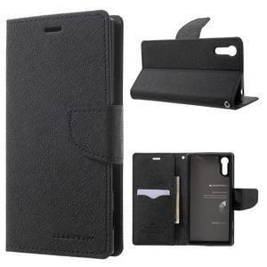 Diary PU kožené puzdro pre mobil Sony Xperia XZ - čierne - 1