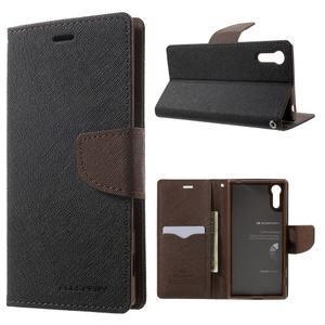 Diary PU kožené puzdro pre mobil Sony Xperia XZ - čierne/hnedé - 1