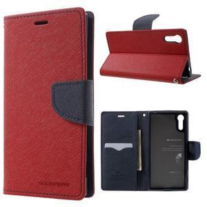 Diary PU kožené puzdro pre mobil Sony Xperia XZ - červené - 1