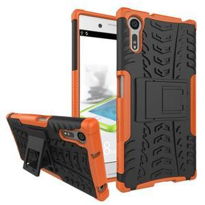 Outdoor odolný obal so stojanom na Sony Xperia XZ - oranžový - 1