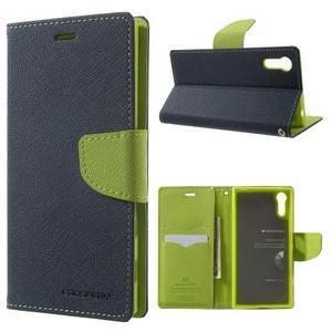 Diary PU kožené puzdro pre mobil Sony Xperia XZ - tmavomodré/zelené - 1