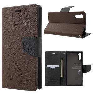 Diary PU kožené puzdro pre mobil Sony Xperia XZ - hnedé - 1