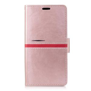 Standy PU kožené peňaženkové puzdro pre Sony Xperia XZ - ružovozlaté - 1