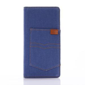 Jeans PU kožené puzdro pre mobil Sony Xperia XZ - modré - 1