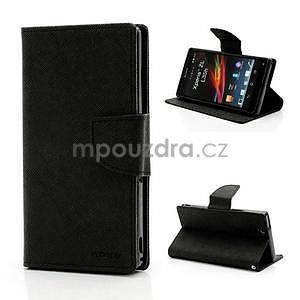 Peňaženkové PU kožené puzdro pre Sony Xperia Z - čierne - 1