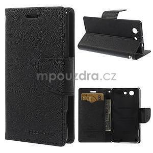 PU kožené peněženkové pouzdro na Sony Z3 Compact - černé - 1