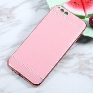 Luxusní gélový obal s PU koženými zády pre Xiaomi Mi 6 - ružový - 1