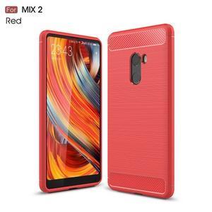 Carbon odolný gelový obal na Xiaomi Mi Mix 2 - červený - 1
