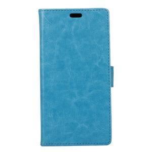 Horse PU kožené peňaženkové puzdro na mobil Xiaomi Redmi 6A - modré - 1