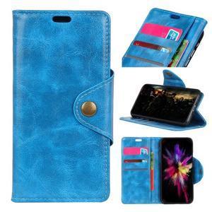 Shell PU kožené flipové puzdro na Xiaomi Redmi 6A - modré - 1