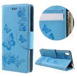 Butterfly PU kožené puzdro na Sony Xperia E5 - světledmodré - 1/7