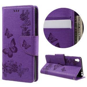 Butterfly PU kožené puzdro na Sony Xperia E5 - fialové - 1