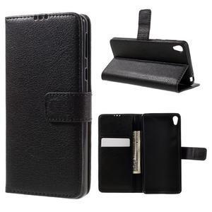 Leathy PU kožené puzdro na Sony Xperia E5 - čierne - 1