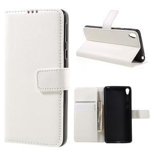 Leathy PU kožené puzdro na Sony Xperia E5 - biele - 1