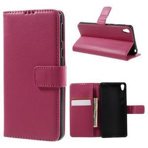 Leathy PU kožené puzdro na Sony Xperia E5 - rose - 1
