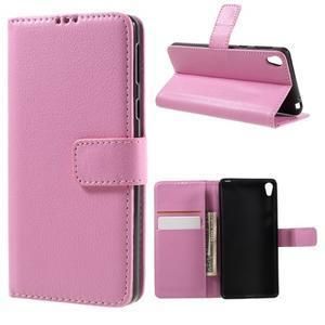 Leathy PU kožené puzdro pre Sony Xperia E5 - ružové - 1