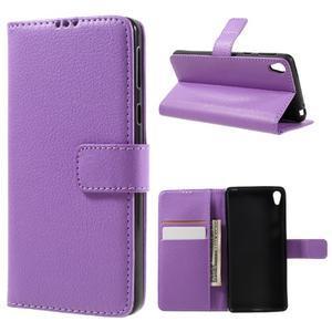 Leathy PU kožené puzdro pre Sony Xperia E5 - fialové - 1