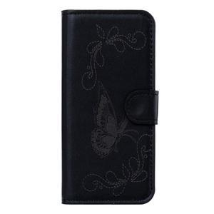 motýľikové PU kožené puzdro pre mobil Sony Xperia E5 - čierne - 1