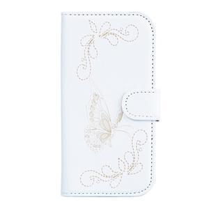 Motýlikové PU kožené puzdro na mobil Sony Xperia E5 - biele - 1