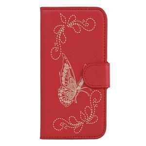 motýľikové PU kožené puzdro pre mobil Sony Xperia E5 - červené - 1