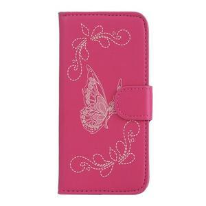 Motýlikové PU kožené puzdro na mobil Sony Xperia E5 - rose - 1