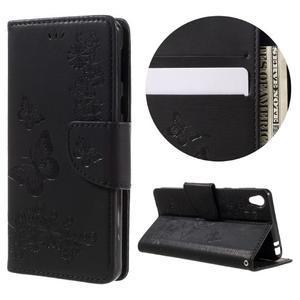 Butterfly PU kožené puzdro pre Sony Xperia E5 - čierne - 1
