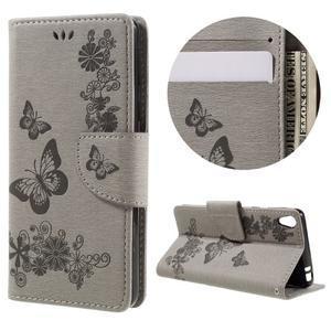 Butterfly PU kožené puzdro na Sony Xperia E5 - šedé - 1