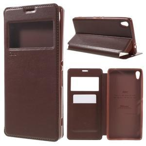 Richi PU kožené puzdro s okienkom na Sony Xperia XA Ultra - hnedé - 1