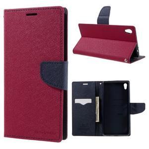 Diary PU kožené puzdro pre mobil Sony Xperia XA Ultra - rose - 1