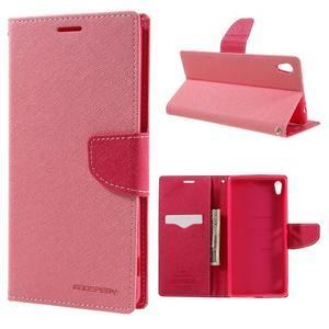 Diary PU kožené puzdro pre mobil Sony Xperia XA Ultra - ružové - 1