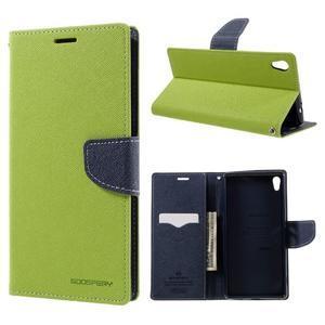 Diary PU kožené puzdro pre mobil Sony Xperia XA Ultra - zelené - 1