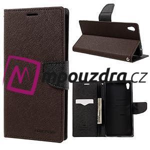 Diary PU kožené puzdro pre mobil Sony Xperia XA Ultra - hnedé - 1