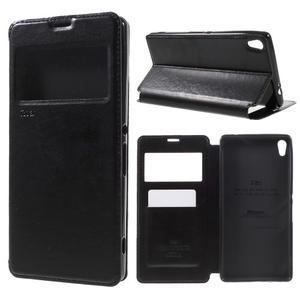 Richi PU kožené puzdro s okienkom na Sony Xperia XA Ultra - čierne - 1