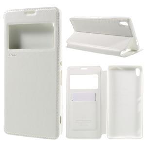 Richi PU kožené pouzdro s okýnkem na Sony Xperia XA Ultra - bílé - 1