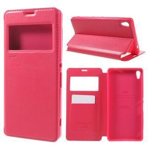Richi PU kožené pouzdro s okýnkem na Sony Xperia XA Ultra - rose - 1