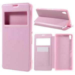 Richi PU kožené puzdro s okienkom na Sony Xperia XA Ultra - ružové - 1